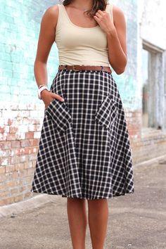 Gingham Midi Skirt {Black}