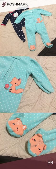 Set of 2 footed pajamas size 6-9 months Super cute set of pajamas! Light blue fleece with fox detail and fox feet (Small Wonders brand). Dark blue with white polka dots and cat face (Carter's brand). EUC. Size 6-9 months. Smoke and pet free home. No stains or damage as far as I can tell. Thanks for looking! Carter's One Pieces Footies