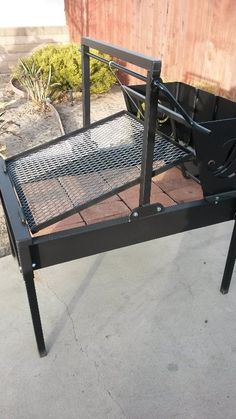 This unique design allows for different temperatures to be maintained by adjusting the grills angle and controlling the amount of coal placed under the grates surface. Made By JD Fabrications Santa Maria CA