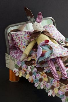 gorgeous---handmade doll and miniature quilt---first place at Houston Quilt show for category Baby Toys, Kids Toys, Bunny Blanket, Blog Planning, Doll Beds, Doll Quilt, Soft Dolls, Crafts To Do, Softies