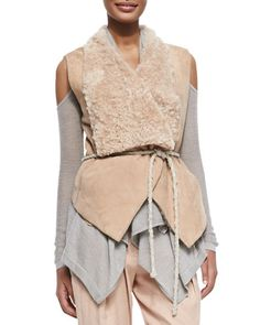 Self-Belted Vest W/ Fur Collar by Donna Karan at Neiman Marcus.