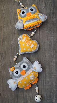 Handmade by JoHo - uilenslinger van vilt en stof - owl felt