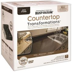 EASY DIY solution for redoing the kitchen countertops! --Rustoleum has made it easy to transform the look of your kitchen countertops using their Countertop Transformations Kit. It's easy to apply and cheap to boot! Rustoleum Countertop Transformations, Countertop Refinishing Kit, Resurface Countertops, Countertop Kit, Painting Countertops, Cabinet Transformations, Countertop Makeover, Bathroom Countertops, Giani Granite