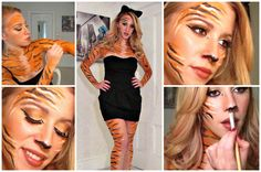 This Halloween look is perfect, if you need a last minute costume. All you need is a black dress and body paint. You will absolutely get lots of compliments . Scar Halloween Costume, Tiger Costume, Family Halloween Costumes, Halloween Kostüm, Halloween Outfits, Tiger Makeup, Tiger Face Paints, Competition Makeup, Up Costumes