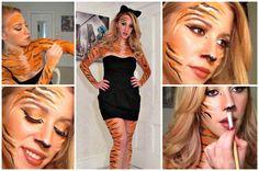 Tiger Costume Makeup   Homemade Tiger Halloween Costume
