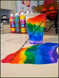 Rainbow paint rolling glass technique. Cool Spring craft. This result was made with a plastic cup, but the result is even prettier with a glass!--could use to paint any background like light and dark blue for sky and water