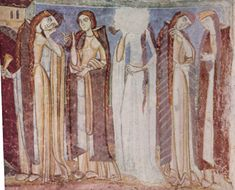 """These women are wearing roc and bliaut styles form the Early 12th Century. note the extremely long pendant sleeves (large funnel shaped sleeves that are cut """"in one"""" with the dress). These dresses fit fairly smoothly through the torso and generally close on one side with eyelets and lacings. The other time period indicator is the length of the ladies' hair. Long braids were very common amongst women of all ages during this time period. Often ribbons were woven into the braids."""
