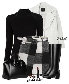 """Covered Asymmetric Front Floor Skirt"" by nezahat-kaya ❤ liked on Polyvore featuring MANGO, Misha Nonoo, Givenchy, plaid, polyvoreeditorial and Superb"