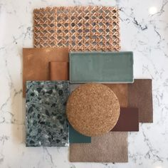 Today's material palette featuring this season's most coveted colour combo, tobacco, and sage. Colour Schemes, Color Combos, Moodboard Interior, Color Inspiration, Interior Inspiration, Deco Restaurant, Material Board, Colour Board, E Design