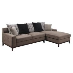 Showcasing a wood frame and grey upholstery, this eye-catching sectional sofa is a perfect addition to your living room or den. %0D%0APro...