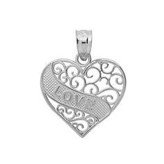 Rhodium Plated Sterling Silver Love Message In A Heart Pendant