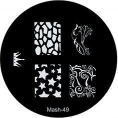 MASH Nail Art Image Plate #49 crown, stars, giraffe, tiles, swirls