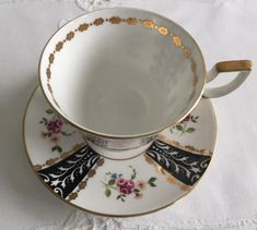 Vintage Royal Tuscan china tea cup and saucer, made in England. Oh so pretty, I love this set...lovely pink rose buds and gold gilding. It is in good condition, no chips, cracks or crazing. Please Note: The items I sell are not new, they are vintage or antiques, it goes without