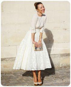 購物狂小姐Little Miss SHOPAHOLIC: ▌街拍分享 ▌從夏天穿到冬天的長圓裙(Midi full skirt)搭配