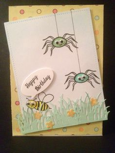 Hobby craft spider and bee stamp, clearly besotted grass die, wplus9 wise die