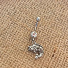 Leaping Large Mouth Bass Fish Navel Belly Button by GunPowderWoman, $12.00