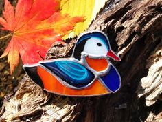 Stained Glass Brooch Mandarin Duck Glass Art от TheStainedGlassCo