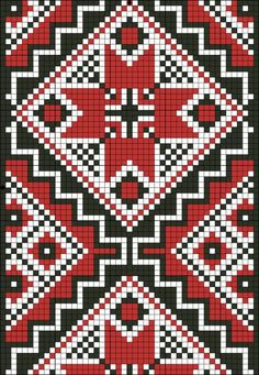 Gallery.ru / Фото #1 - ... - nastka2006 Russian Embroidery, Cross Stitch Embroidery, Hand Embroidery, Cross Stitch Patterns, Knitting Patterns, Two Color Quilts, Tapestry Crochet, Crochet Stitches, Pixel Art