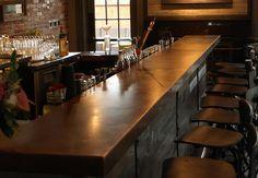 copper bar top - Google Search Copper Bar Top, Custom Metal Fabrication, Bar Counter, Interior Design, Table, Furniture, Home Decor, Denver, Basement