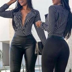 Women Loose Deep V Neck Sexy Blouse Striped Long Sleeve Autumn Summer Top Black Women Fashion, Latest Fashion For Women, Womens Fashion, Ladies Fashion, Look Legging, Fashion Pants, Fashion Outfits, Style Fashion, Fashion Skirts