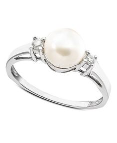 Cultured Freshwater Pearl & Diamond (1/10 ct. t.w.) Ring in 14k White Gold | macys.com