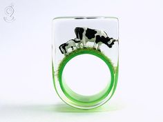 Alp peace – extraordinary cow ring with two black-and-white cows on a black ring made of resin Sissi, Wide Rings, Black Rings, White Cow, Black And White, Mini Cows, Two By Two, Gemstone Rings, Engagement Rings