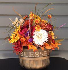 Fall Flower Arrangement, Fall Sunflower Floral Arrangement, Religious Flower Arrangement, Thanksgiving Flowers, Fall Autumn Decor by CraftyCornerDesign on Etsy