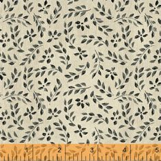 One Yard Farm Chic  Mini Leaf in Black  Cotton by WarmKittyQuilts