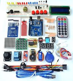 Arduino starter kit Package Included: 1 X UNO Board 1 X USB Cable 1 X Jump Cable 1 X Breadboard 5 X LED Light 1 Pack Resistor 1 X Female to male dupond line 1 X Potentiometer 1 X Buzzer  1 X 74HC595 1 X Infrared receiver 1 X LM35 1 X Flame Sensor 1 X Ball Switch 1 X Photoresistor 1 X Key button 1 X Remote control 1 X 4-digit display tube 1 X 88 Dot matrix module 1 X 1-digit display tube 1 X Stepper motor driver board 1 X Stepper motor 1 X 9g Servo 1 X IIC 1602 LCD 1 X XY joystick module 1 X…