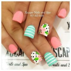 16 Examples Of Disney Nail Art That Will Render You Speechless - Summer floral nails The Effective Pictures We Offer You About diy clothes A quality picture can te - Pokadot Nails, Little Mermaid Nails, Mint Nails, Beach Nails, Fancy Nails, Trendy Nails, Cute Nail Designs, Awesome Designs, Nail Designs Spring