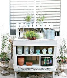 Galvanized Herb Tray Garden and Updated Potting Bench