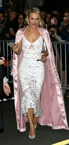 Rachel McAdams  in a white dress and pink satin coat                                                     …