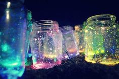 """A really fun and easy project you can do with mason jars is """"Fairies in a Mason Jar"""". All you have to do is cut a glow stick and shake all the contents into a jar, add diamond glitter, and then seal the top. That's all! It'll glow in the dark, and it's also a great centerpiece for an outside summer party at night. Also: check attached link."""