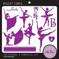 Silhouette Ballet Girl-F003-Clipart Set for cards, stationary, invitations, scrapbooking and all paper crafts