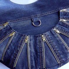 """Купить Сумка женская джинсовая """"Молнии"""" - джинсовая сумка на лето, сумка своими руками"""