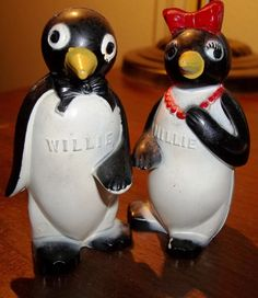 Rare Salt And Pepper Shakers | Vintage Willie and Millie Salt & Pepper Shakers by VintageCoolETC