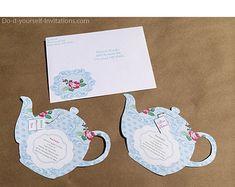 Printable Tea Party Invitation- Bridal Tea Party Invitation- Tea Pot Invitation Template- Victorian Blue Polka Dot Floral INSTANT DOWNLOAD