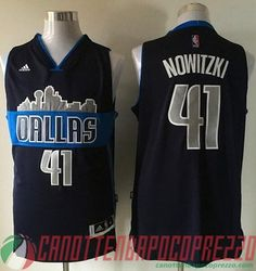 canotte nba poco prezzo Dallas Mavericks Nowitzki # 41 deep blu