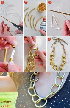 DIY: Chunky Chain Necklace From Vinyl Tubes.  This goes beyond easy.  No clasp. #Beading #Jewelry #Tutorials