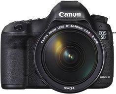 Canon EOS 5D Mark III. Digitale Spiegelreflexkamera. Die EOS 5D Mark III ist eine 22,3 MP Vollformat-DSLR mit 61-Punkt-AF und Reihenaufnahmen mit 6 B/s. Hochwertige Full-HD-Videos mit manueller Steuerung von der Bildrate bis zum Ton.