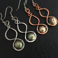 hand made copper and  silver wire pearl earrings by BLLstudio