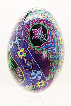 Got The Blues Paisley Goose Egg/Pysanky by FaberjaneEggs on Etsy, $80.00