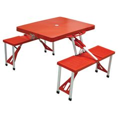 Acadia Portable Picnic Table in Red.