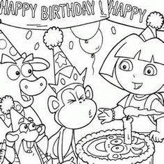 Birthday coloring - Dora, birthday, party, coloring, boots free ...