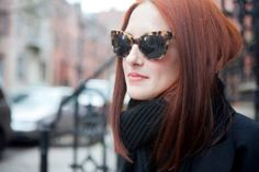 The perfect cat eye sunglasses in tortoiseshell - by Norma Kamali, seen on Taylor Tomasi.