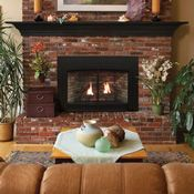 Transform your hearth with the beautiful Empire Luxury Innsbrook Direct Vent Gas Insert - 30 Brick Fireplace Mantles, Brick Fireplace Makeover, Fireplace Remodel, Fireplace Design, Fireplace Ideas, Brick Hearth, Fireplace Stores, Fireplace Update, Gas Fireplaces