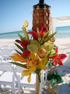 decoration idea for torches in the sand