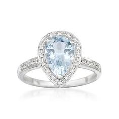 Like wispy clouds and a warm summer sky, this 1.55 carat aquamarine and .10 ct. t.w. diamond ring Sale: $371.25 (25% Discount Applied) will put a smile on your face! The pear-shaped aquamarine centerpiece is graced with a sparkling diamond border and 14kt white gold. Treat yourself to this breath of fresh air. Diamond and aquamarine ring. Free shipping & easy 30-day returns. Fabulous jewelry. Great prices. Since 1952.