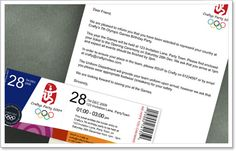 Ticket and Letter of invite . cute Send your guests an uplifting 'Letter of Selection' to your party, accompanied with a very authentic looking entry ticket that includes all the details to your party. Isaiah 4, Olympics Opening Ceremony, Summer Olympics, Olympic Games, 4th Birthday, Ticket, The Selection, Invitations, Crafty