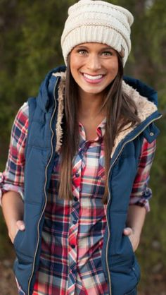Stitch Fix Fall Fashion! Sign up to get your subscription box from your own personal stylist for $20. Red & navy plaid button up, Navy puffer with cream fur lining, cream beanie hat. Fun Fall looks